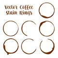 Coffee or espresso stain rings traces from cups vector illustrations