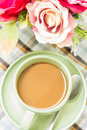Coffee with flower Royalty Free Stock Photos