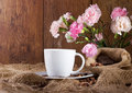Coffee and flowers Royalty Free Stock Photography