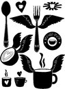 Coffee fork spoon cups flying forks and spoons logo clipart Royalty Free Stock Photography