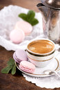 Coffee and French macaroons Royalty Free Stock Photos