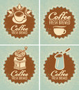 Coffee fresh brewed retro set of banners for the preparation of Royalty Free Stock Photo