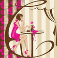Coffee girl a fashionable young woman in pink outfit sitting at a table encircled by letter c Stock Photography
