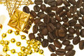 Coffee and gold Royalty Free Stock Images