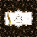 Coffee with golden ribbon and vintage pattern Stock Photos