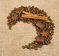 Coffee grain, cinnamon, chocolate and anise Royalty Free Stock Image