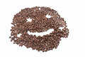 Coffee grains arranged in smiley. Royalty Free Stock Image