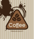 Coffee grains banner with and splashes Stock Photos