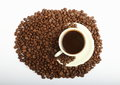 Coffee with grains cup of coffe plenty of Royalty Free Stock Photo