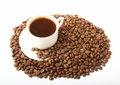 Coffee with grains cup of coffe plenty of Royalty Free Stock Image