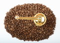 Coffee grains with grinder detail of plenty of copper Royalty Free Stock Photo