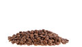 Coffee grains isolated white background Stock Photos