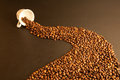 Coffee grains a lot of on a black background Royalty Free Stock Photography
