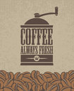 Coffee grinder banner with a and beans Royalty Free Stock Image