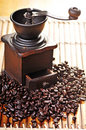 Coffee Grinder and Beans Stock Photography