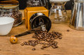 Coffee grinder and drip coffee kits set on wooden board Royalty Free Stock Image
