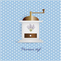 Coffee grinder white style vintage on blue pattern Royalty Free Stock Photo