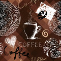 Coffee grunge pattern on polygonal background seamless will tile endlessly Stock Photography