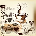 Coffee grunge vintage vector design with coffee cups grains an background hand drawn signatures and hearts for Royalty Free Stock Images