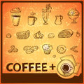 Coffee hand drawing icons set for theme design Stock Images