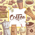 Coffee Hand Drawn Background with Coffee Cup, Cinnamon and Chocolate. Food and Drink