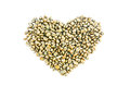 Coffee heart grain on background Stock Photos