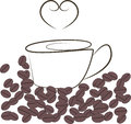 Coffee and heart shaped steaming cup of hot with beans Stock Photography