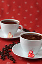Coffee with hearts and coffee-beans Stock Images