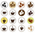 Coffee and hot beverages button set vector illustration Royalty Free Stock Photography