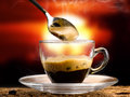 Coffee hot served in a small cup at sunset Royalty Free Stock Photos