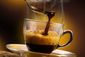 Coffee hot steaming served in a glass cup Royalty Free Stock Photo
