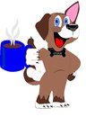 The coffee hound enjoying its pleasures Royalty Free Stock Image