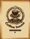 Coffee house banner for a on a background of ancient papyrus Royalty Free Stock Photos