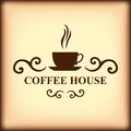 Coffee house icon on blur light brown background vector illustrations of Stock Photo