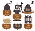 Coffee house vector character set with with a grinder Royalty Free Stock Photos