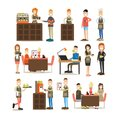 Coffee house people vector flat icon set