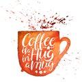 Coffee is a hug in a mug Royalty Free Stock Photo