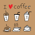 Coffee icon drawing illustration of icons about in hand draw style Royalty Free Stock Photography