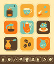 Coffee icon set of icons color and monochrome version Royalty Free Stock Photography