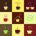 Coffee icons set with aroma love and internet place green concepts Royalty Free Stock Photos