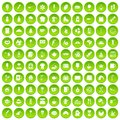 100 coffee icons set green circle