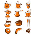 Coffee icons a vector illustration of icon sets Stock Photos