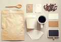 Coffee identity branding mockup set with retro filter effect Royalty Free Stock Images