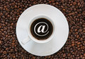 Coffee with an internet sign Royalty Free Stock Photo