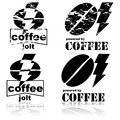 Coffee jolt concept illustration showing a bean and a lightning bolt Royalty Free Stock Images
