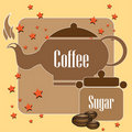 Coffee kettle and sugar Stock Images