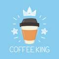 Coffee king vector cartoon flat and doodle illustration. Crown and stars icon