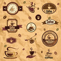 Coffee label emblems collection labels set Royalty Free Stock Photography