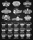 Coffee Label, logo and menu chalk drawing Royalty Free Stock Photo