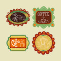 Coffee label set vintage collection of labels hand drawn this vector illustration is layered for easy manipulation and custom Royalty Free Stock Images